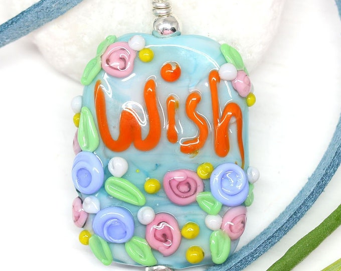 Blue motivation jewelry pendant, Blue orange flower necklace with word Wish, Handmade lampwork glass, Inspiration jewelry by MayaHoney