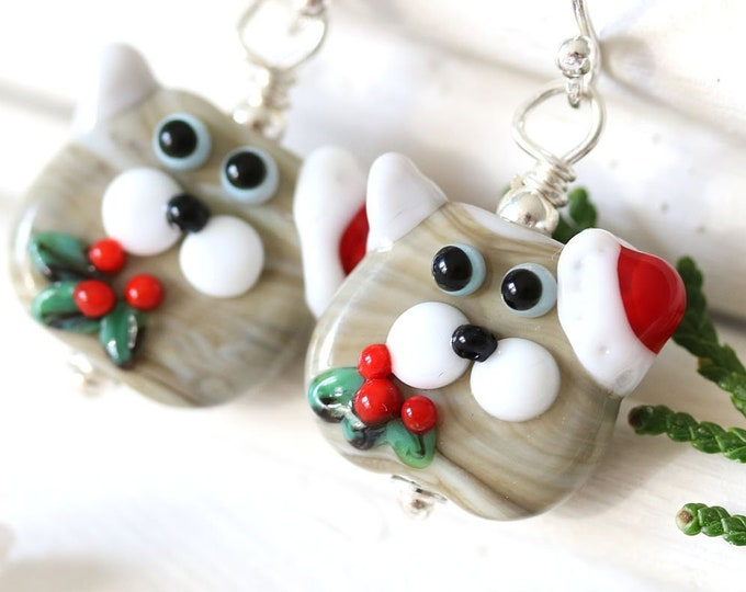 Christmas cat earrings, Santa hat cat jewelry, Kitten earrings, Handmade lampwork Animal lover Christmas gift