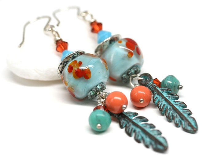 Feather charms Lampwork beaded earrings, Tribal jewelry, Turquoise Orange long dangle earrings, Handmade women jewelry by MayaHoney
