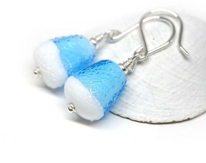 Blue glass earrings, Handmade Lampwork, Iceberg jewelry, White blue Sterling silver beaded dangle earrings