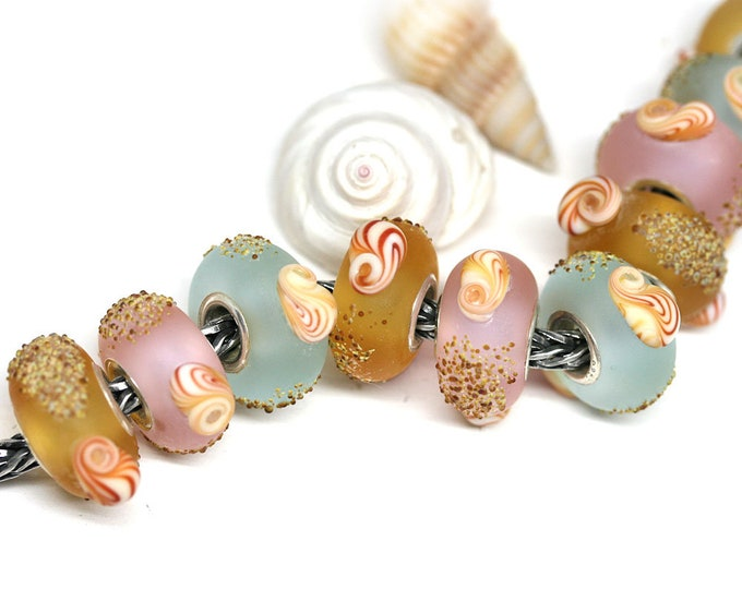 Seashell Jewelry European bracelet beads, Choose your color, Blue Pink Yellow charms, Seaglass jewelry, Handmade Lampwork SRA by MayaHoney