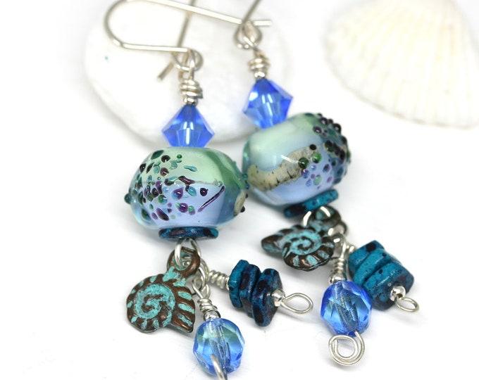 Blue glass beaded earrings, Handmade Lampwork jewelry, Blue Green long earrings, Nautical Beach lover jewelry gift