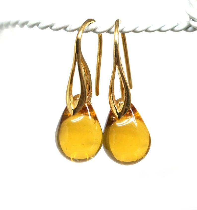 e718296247fdaa Yellow earrings Golden ear wires Amber honey drop dangle | Etsy
