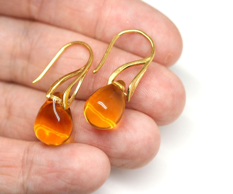 Yellow teardrop earrings Yellow glass earrings Yellow topaz earrings