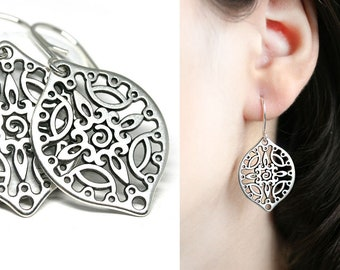 Silver Filigree earrings Boho jewelry Silver dangle large teardrop earrings for women by MayaHoney