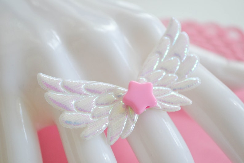 Fairy kei pastel wing ring with heart or star