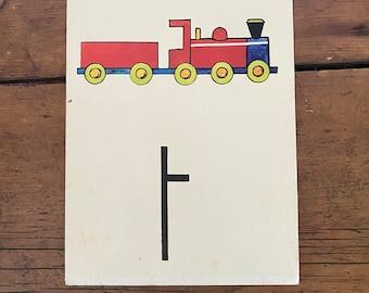"""Vintage School Alphabet Picture Card """"T"""""""
