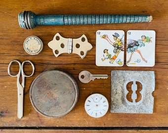 Vintage Junk Drawer Curiosities Found Objects Mixed Media Steam Punk Lot 2