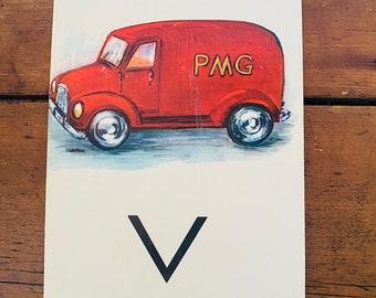 """Vintage School Alphabet Picture Card """"V"""""""