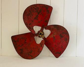 Vintage Red Chippy Metal Propeller Fan