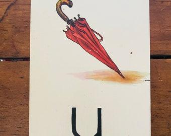 "Vintage School Alphabet Picture Card ""U"""