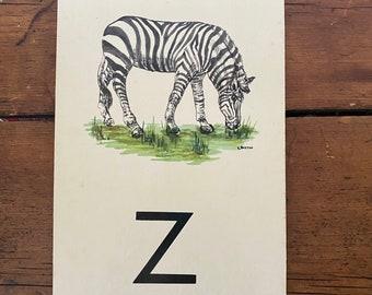 """Vintage School Alphabet Picture Card """"Z"""""""
