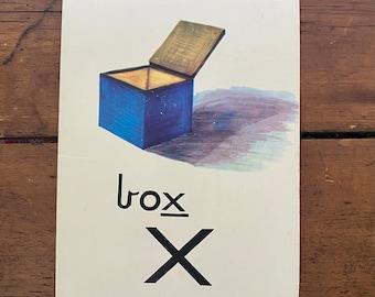 """Vintage School Alphabet Picture Card """"X"""""""