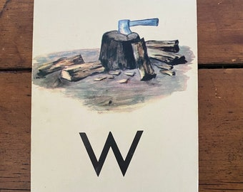 "Vintage School Alphabet Picture Card ""W"""