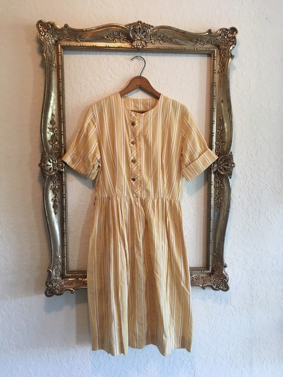 Vintage 50s Yellow Stripe Shirtdress M/L