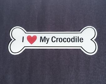 I Heart My Crocodile Bumper Sticker - White, Bone-Shaped (I Love My Crocodile)