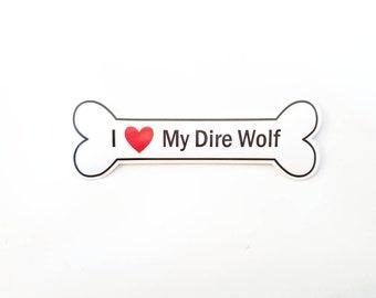 I Heart My Dire Wolf Bumper Sticker - White, Bone-Shaped (I Love My Dire Wolf)