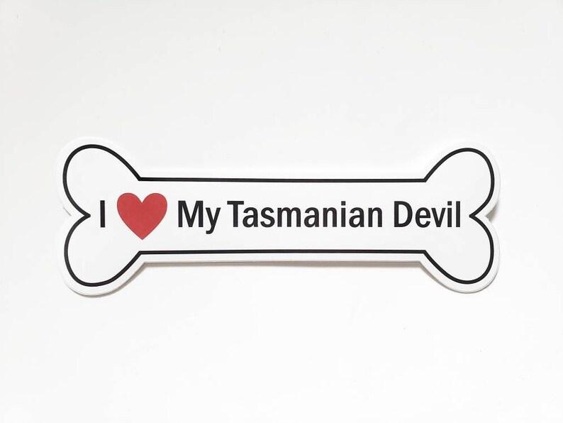 I Heart My Tasmanian Devil Bumper Sticker  White Bone-Shaped image 0