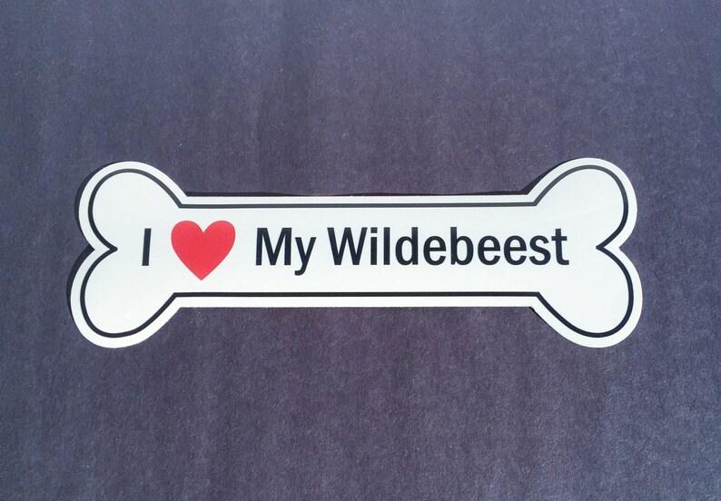 I Heart My Wildebeest Bumper Sticker  White Bone-Shaped I image 0