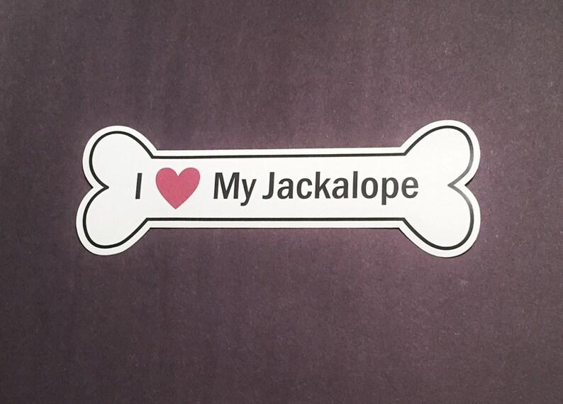 I Heart My Jackalope Bumper Sticker  White Bone-Shaped I image 0