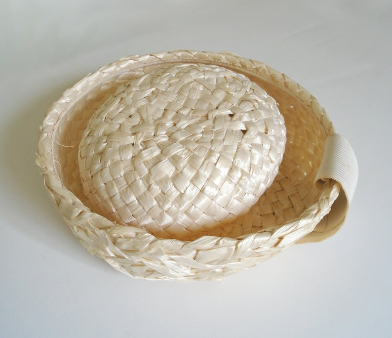 77fb6a0168d1e REDUCED Vintage Straw Hat with Cream Colored Ribbon   Vintage