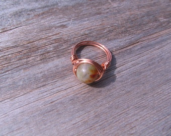 Fancy Jasper and Copper Wire Wrapped Ring Healing Gemstone Ring