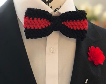 Black and Red Bow Tie, Men's Bow Tie, Crochet Bow Tie, Black and Red, Men's Wedding Attire