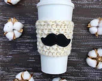 Mustache Cup Cozy, Mustache, Coffee Cozy, Coffee Sleeve, Groom Gift