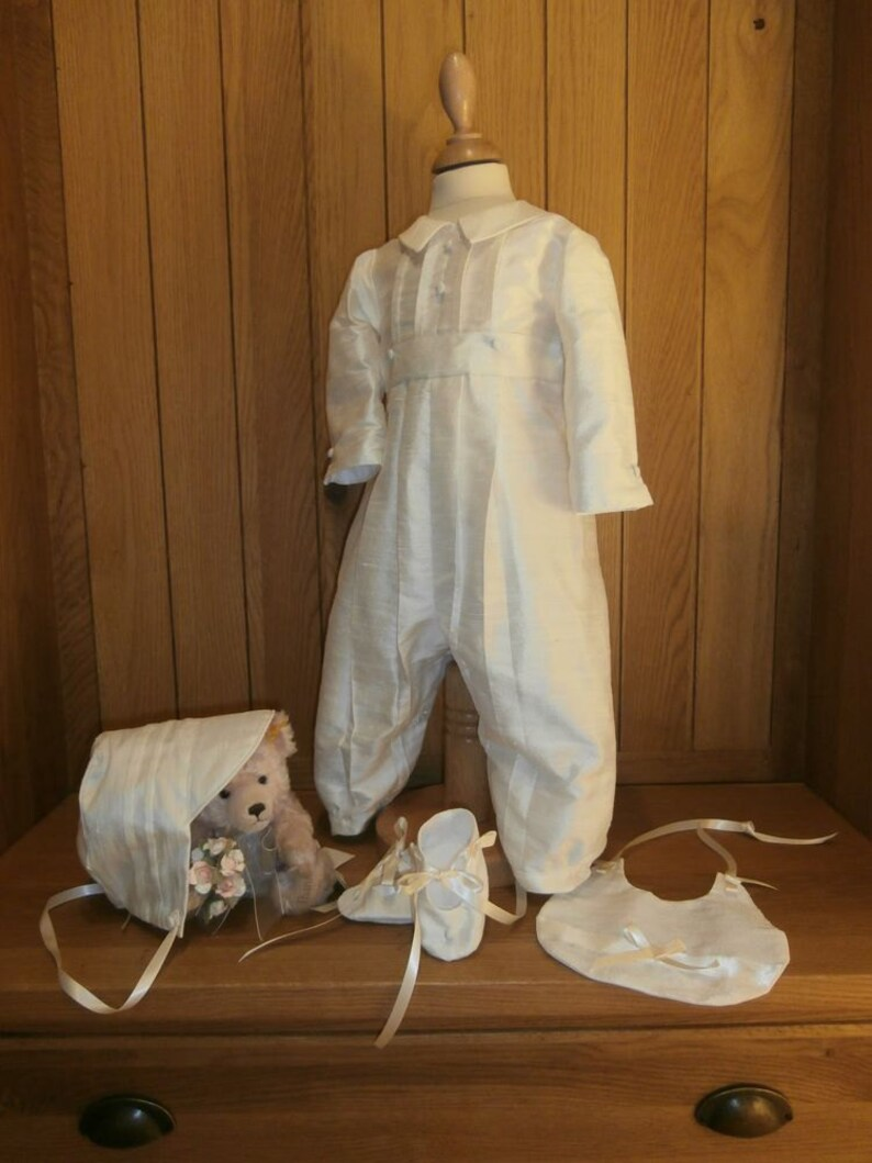 7bf800184 Boys Christening Romper Suit with bonnet bootees and bib | Etsy