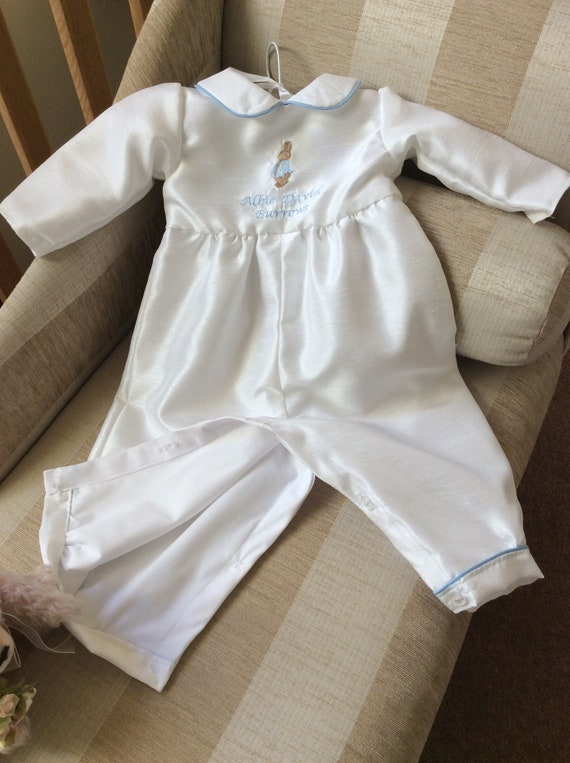 BABY BOYS ROMPER SUIT CHRISTENING GOWN ROBE BAPTISM OUTFIT PETER RABBIT