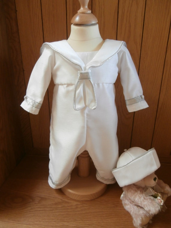 SAILOR SUIT CHRISTENING OUTFIT SAILOR HAT BOYS WEDDING OUTFIT BAPTISM GOWN