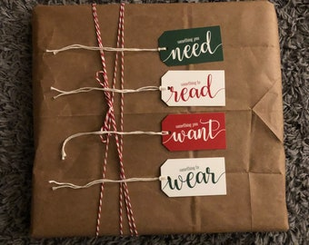 Printed Christmas Gift Tags, Something you Want, Something you Need, Something to Wear, Something to Read, Set of 4 Tags