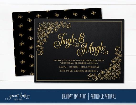Urlaub Cocktail Party Einladung Klingeln Und Vermischen Sich Weihnachtsfeier Schwarz Und Gold Holiday Party Einladen Büro Urlaub Party