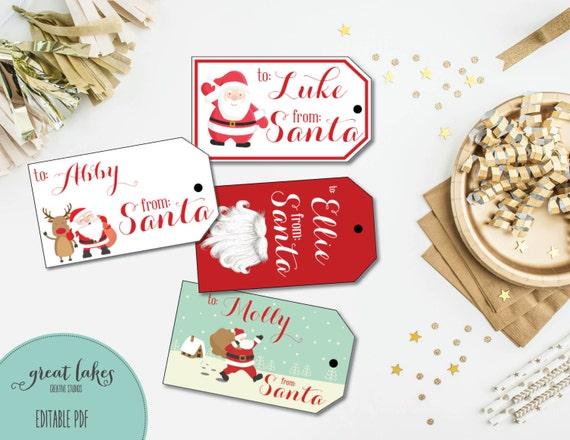 santa gift tags christmas gift tags printable holiday etsy