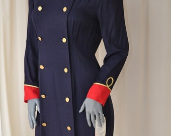 Vintage  80s Navy & Red Military Dress by John Roberts Size S