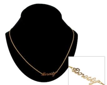"Script Name Dorothy Charm Pendant Gold Tone Necklace 16"" Vintage 70s"
