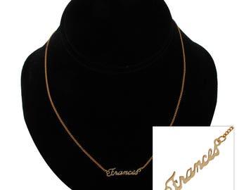 """Script Name Frances Charm Pendant Gold Tone Necklace 16"""" Vintage 70s"""