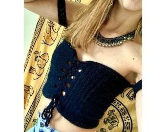 Crocheted Off Shoulder Crop Top