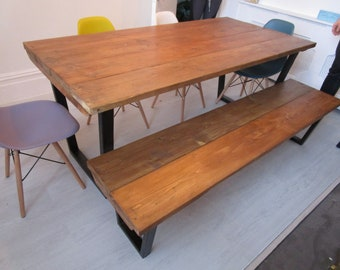 Industrial Style Dining Table Made From Reclaimed Woodcustom Etsy - Custom made reclaimed wood dining table