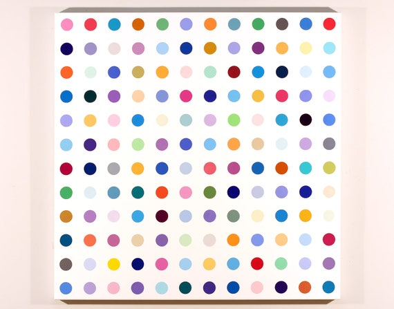 144 Dots 36x36 Acrylic Painting In The Style Of Damien Hirst Etsy