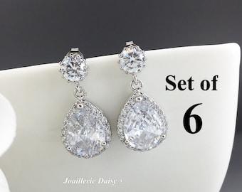 Bridesmaid Gift Set of 6 Wedding Earrings Dangle Earrings CZ Earrings Statement Earrings Gift for Her Cubic Zirconia Earrings Jewelry