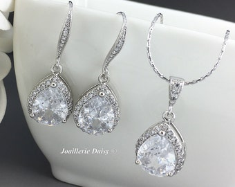 Bridal Jewelry Set Cubic Zirconia Necklace Bridesmaid Jewelry Gift for Moms Wedding Jewelry Maid of Honor Bridesmaid Gift