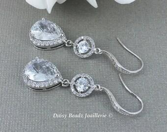 Bridal Wedding Earrings Crystal Earrings Drop Earrings Bridal Earrings Bridal Jewelry Gift for Her Cubic Zirconia Earrings Maid of Honor