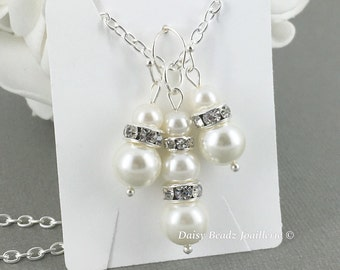 Bridesmaid Jewelry Bridal Gifts for Her Ivory Pearl Jewelry Set Ivory Necklace Maid of Honor Gift  for Mother of Bride