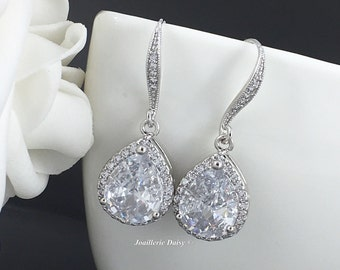 Bridal Earrings Crystal Earrings Bridesmaid Gift Bridal Party Jewelry Gift for Her Cubic Zirconia Earrings Maid of Honor Gift
