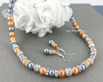 Pearl Necklace Bridesmaid Gift for Mother Grey Necklace Orange Necklace Wedding Jewelry Bridal Jewelry Mother of Bride Mother of Groom
