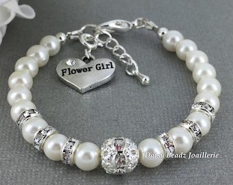 Pearl and Rhinestones Flower Girl Bracelet, Flower Girl Jewelry, Flower Girl Gift, Little Girl Bracelet, Gift for Flower Girl, Wedding Party