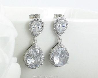 Bridal Earrings Dangle Earrings Crystal Earrings Wedding Jewelry Bridesmaid Gift for Moms Cubic Zirconia Earrings Teardrop Earrings