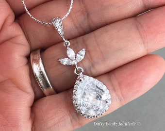 Bridal Necklace Wedding Jewelry Bridal Jewelry Cubic Zirconia Bridesmaid Jewelry Gift for Her Crystal Necklace Mother of Bride Gift for Moms