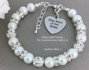 Step Mother of the Bride Bracelet Stepmom of the Bride Bracelet Pearl Bracelet Gift for Stepmom  Mother in law Gift